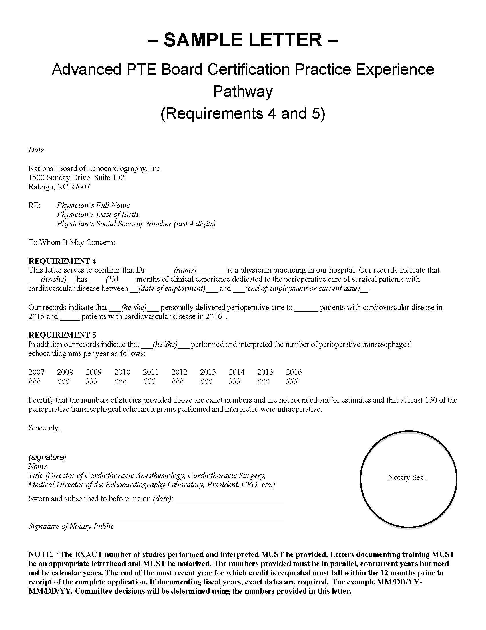Certification sample letters practice experience pathway 1betcityfo Images